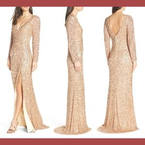 NWT Mac Duggal Two Sleeve Sequin Slit Dress 10 Ros